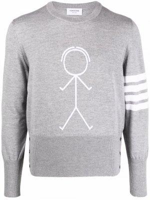 Пуловер с полосками 4-Bar Thom Browne. Цвет: серый