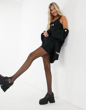 Черное трикотажное платье-майка от комплекта с вышивкой в форме сердец -Черный Heartbreak