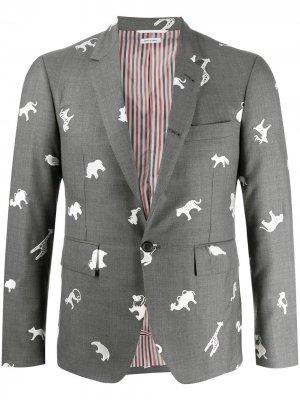Пиджак с узором Thom Browne. Цвет: серый