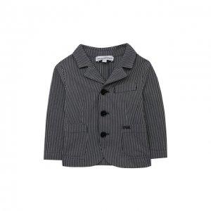 Хлопковый пиджак Emporio Armani. Цвет: синий