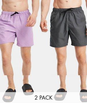 Набор из 2 шорт для плавания средней длины фиолетового/угольно-черного цветов ASOS DESIGN