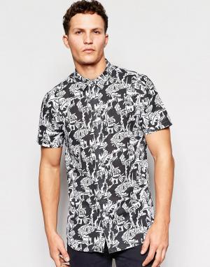 Рубашка с короткими рукавами и принтом Afends. Цвет: черный
