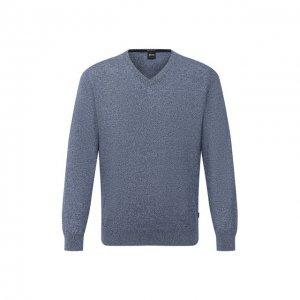 Хлопковый пуловер BOSS. Цвет: синий