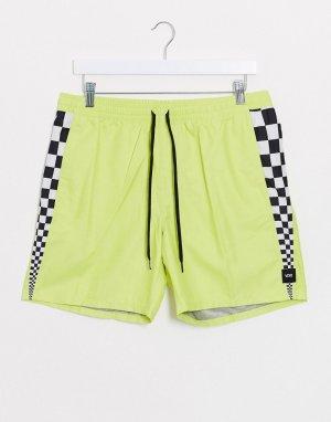 Волейбольные шорты лаймового цвета со вставками -Зеленый Vans