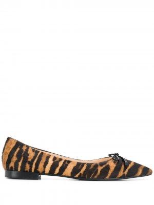 Балетки с заостренным носком и принтом Prada. Цвет: коричневый