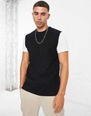 Черный фактурный трикотажный жилет -Черный цвет Only & Sons