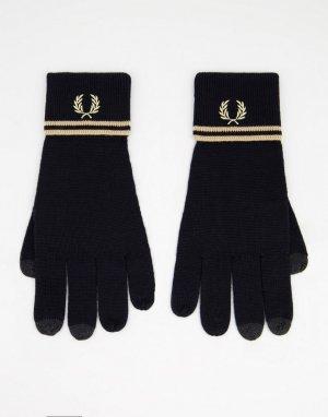 Черно-золотистые перчатки из мериносовой шерсти с двойной полоской -Черный цвет Fred Perry