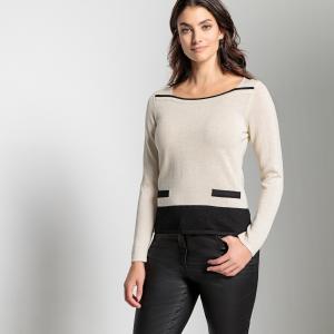 Пуловер из тонкого блестящего трикотажа ANNE WEYBURN. Цвет: бежевый