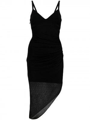 Трикотажное платье асимметричного кроя Hervé Léger. Цвет: черный