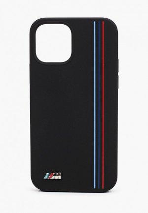 Чехол для iPhone BMW 12/12 Pro (6.1), M-Collection Liquid silicone Tricolor lines Black. Цвет: черный