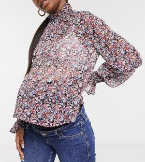 Блузка с цветочным принтом, длинными рукавами присборенными манжетами и горловиной ASOS DESIGN Maternity-Многоцветный Maternity