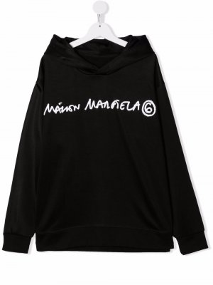 TEEN logo-print fleece hoodie MM6 KIDS. Цвет: черный