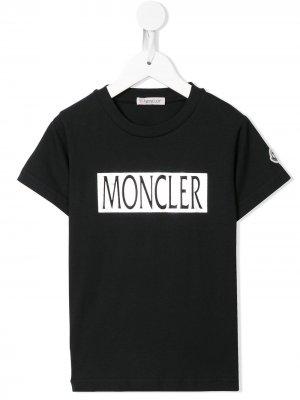 Футболка с логотипом Moncler Kids. Цвет: синий