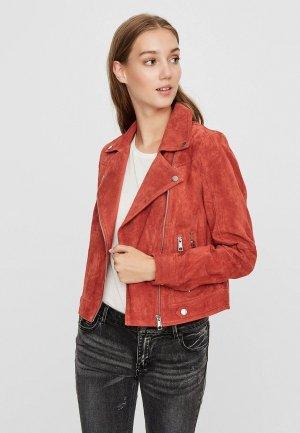 Куртка кожаная Vero Moda. Цвет: красный