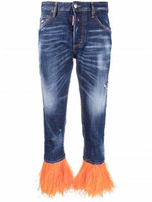 Укороченные джинсы с перьями Dsquared2. Цвет: синий