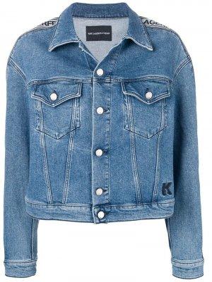 Джинсовая куртка с логотипом Karl Lagerfeld. Цвет: синий