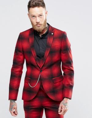 Облегающий пиджак в клетку омбре с цепочкой Noose & Monkey. Цвет: красный