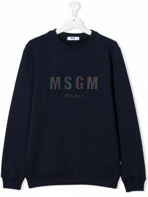TEEN logo-patch cotton sweatshirt MSGM Kids. Цвет: синий
