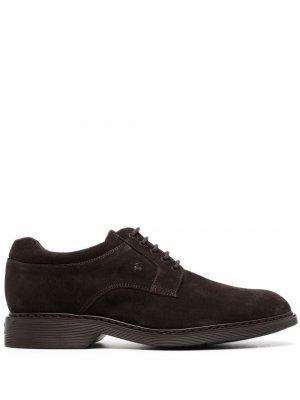 Almond-toe lace-up Derby shoes Hogan. Цвет: коричневый