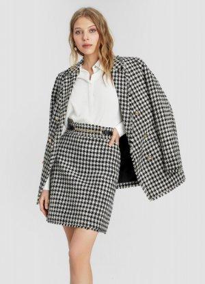 Твидовый двубортный пиджак O`Stin. Цвет: черный