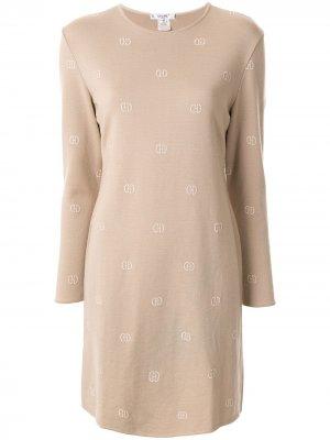 Трикотажное платье с вышитым логотипом Céline Pre-Owned. Цвет: коричневый