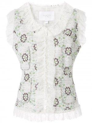 Жилет с цветочной вышивкой Giambattista Valli. Цвет: белый