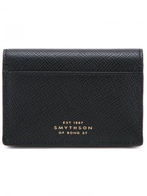 Бумажник с откидным верхом Smythson. Цвет: чёрный