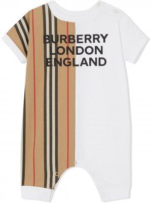 Ромпер в полоску Icon Stripe Burberry Kids. Цвет: белый