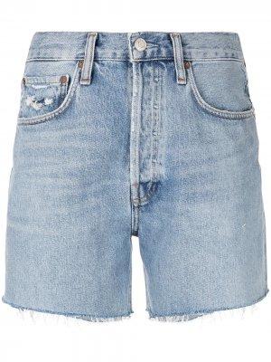 Джинсовые шорты Riley с эффектом потертости AGOLDE. Цвет: синий