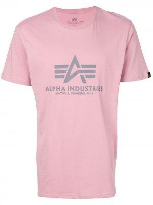 Футболка с принтом-логотипом Alpha Industries. Цвет: розовый