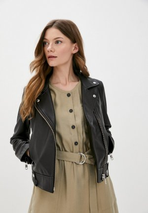 Куртка кожаная Tommy Hilfiger. Цвет: черный