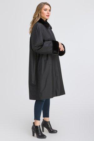 Зимнее пальто на меху кролика для больших размеров SkinnWille. Цвет: черный