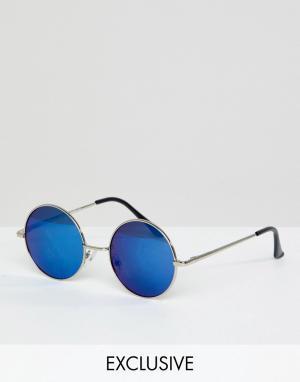Круглые серебристые солнцезащитные очки Inspired эксклюзивно для ASOS Reclaimed Vintage. Цвет: серебряный