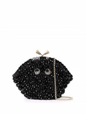 Клатч Maud с бусинами Anya Hindmarch. Цвет: черный
