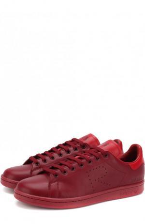 Кожаные кеды Stan Smith на шнуровке adidas by Raf Simons. Цвет: бордовый