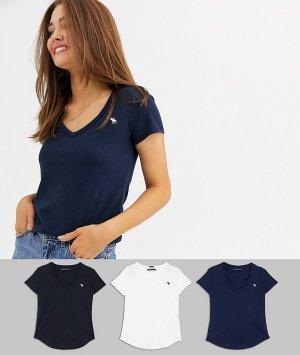 Набор из 3 футболок с V-образным вырезом Abercrombie & Fitch. Цвет: мульти