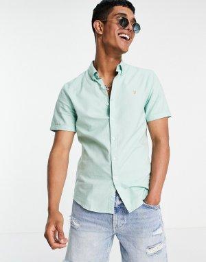 Зеленая рубашка с короткими рукавами из органического хлопка Brewer-Зеленый цвет Farah