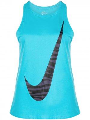 Топ с логотипом Nike. Цвет: синий