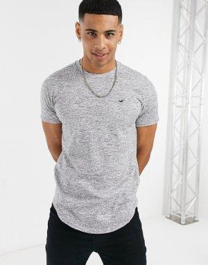 Серая меланжевая футболка с фигурной кромкой и логотипом -Серый Hollister