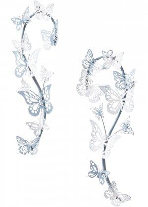 Настенный декор с бабочками (2 шт.) bonprix. Цвет: серый