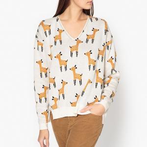 Пуловер жаккардовый с V-образным вырезом WOODY BLUNE. Цвет: экрю