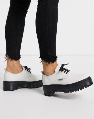 Кожаные туфли на массивной подошве со шнуровкой -Белый Bronx