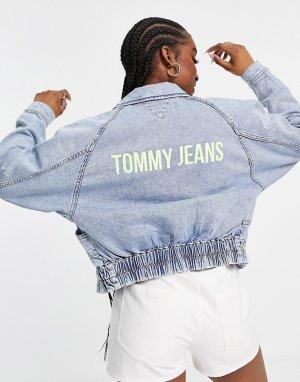 Укороченная джинсовая куртка голубого цвета в стиле карго -Голубой Tommy Jeans
