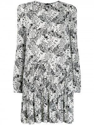 Платье с принтом Pinko. Цвет: белый