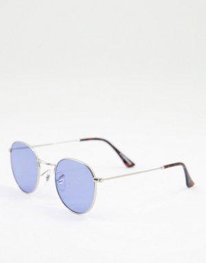 Круглые солнцезащитные очки в стиле унисекс серебристой оправе с синими стеклами Hello-Серебристый A.Kjaerbede