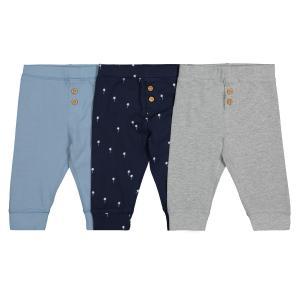 Комплект из 3 штанишек хлопкового джерси 1 мес-3 лет LA REDOUTE COLLECTIONS. Цвет: серый + синий