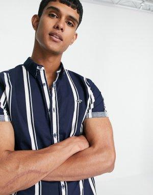 Темно-синяя рубашка в полоску узкого кроя с короткими рукавами и логотипом -Темно-синий Hollister