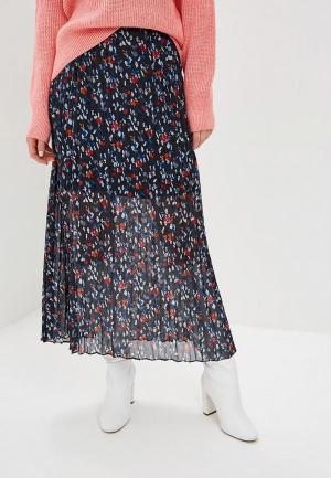 Юбка LOST INK MIDAXI SKIRT IN PLEAT WITH FLORAL PRINT. Цвет: синий