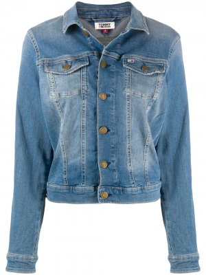 Джинсовая куртка с эффектом потертости Tommy Jeans. Цвет: синий