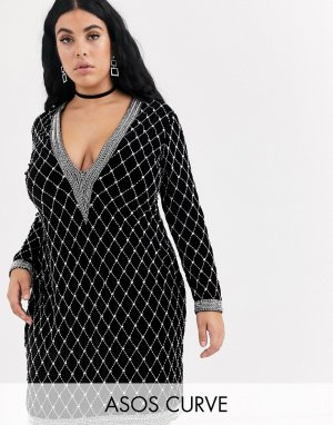 Бархатное платье мини с глубоким вырезом и длинными рукавами ASOS DESIGN Curve-Черный Curve